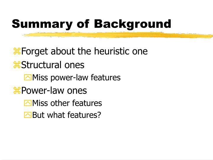 Summary of Background