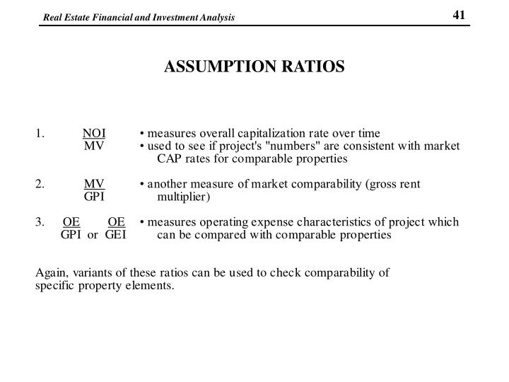 ASSUMPTION RATIOS