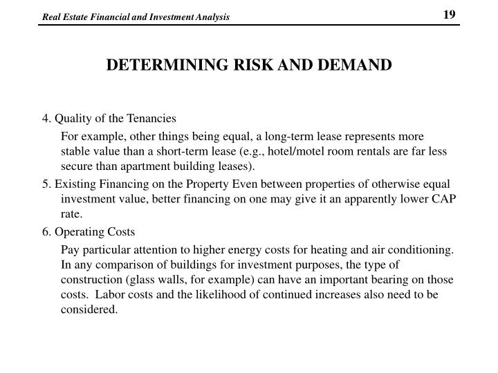 DETERMINING RISK AND DEMAND