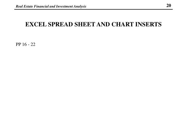 EXCEL SPREAD SHEET AND CHART INSERTS