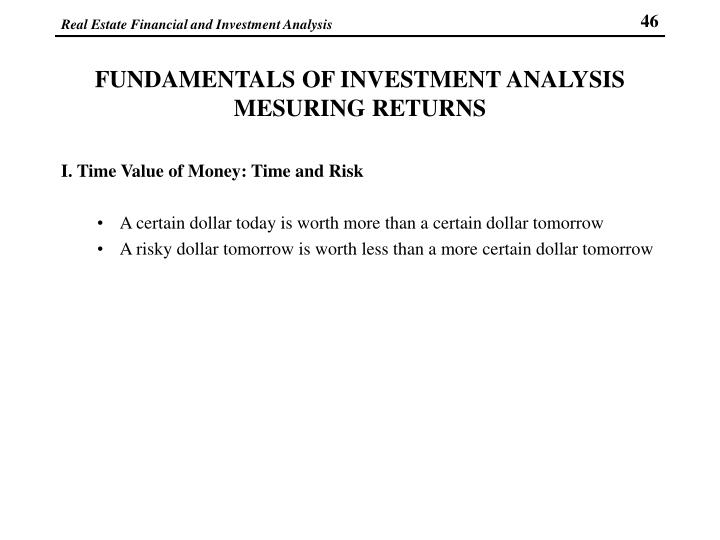 FUNDAMENTALS OF INVESTMENT ANALYSIS MESURING RETURNS