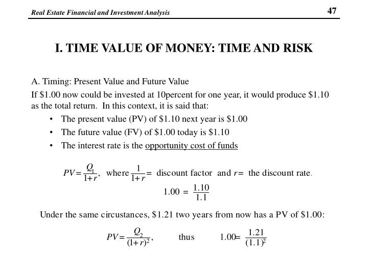 I. TIME VALUE OF MONEY: TIME AND RISK