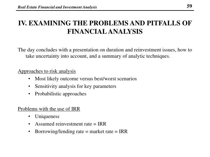 IV. EXAMINING THE PROBLEMS AND PITFALLS OF FINANCIAL ANALYSIS