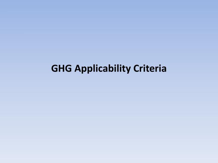 GHG Applicability Criteria