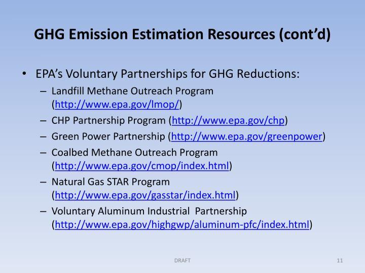 GHG Emission Estimation Resources (cont'd)