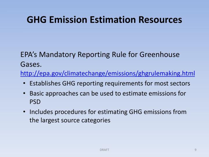 GHG Emission Estimation Resources
