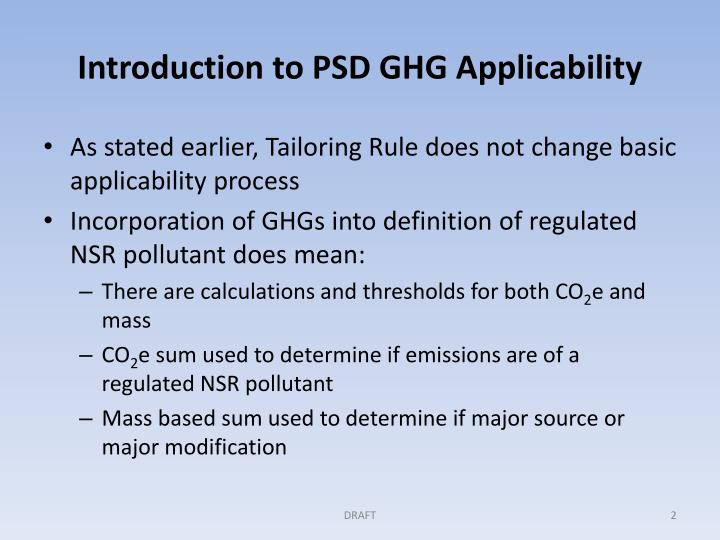 Introduction to PSD GHG Applicability