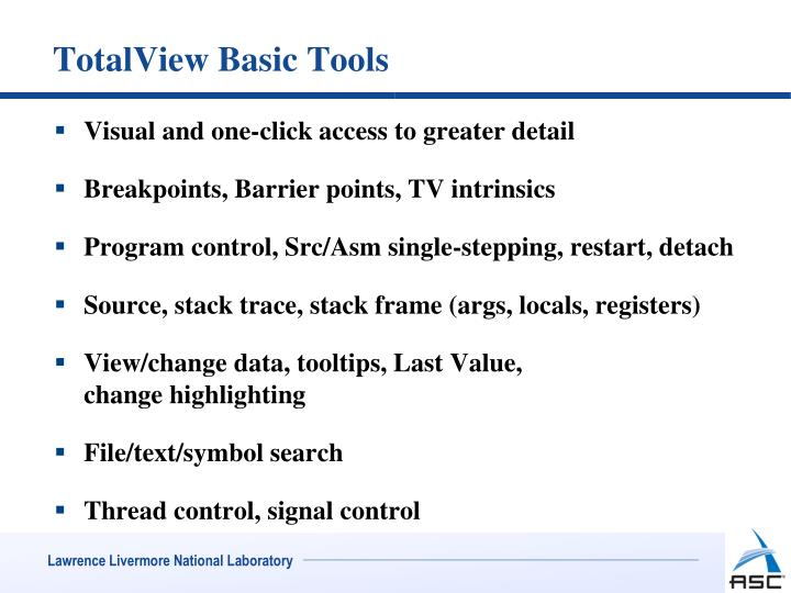 TotalView Basic Tools