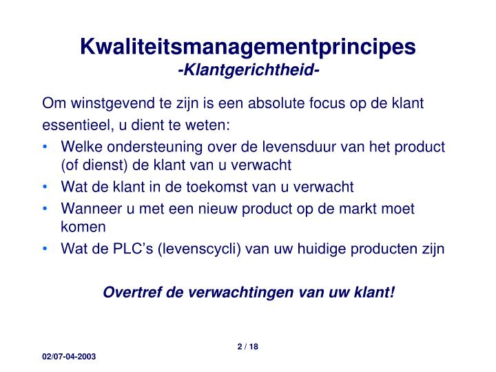 Kwaliteitsmanagementprincipes
