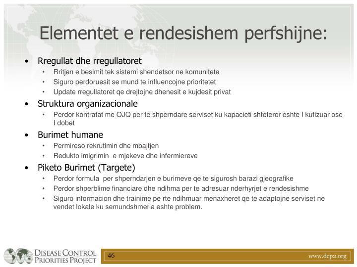Elementet e rendesishem perfshijne: