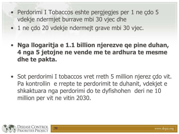 Perdorimi I Tobaccos eshte pergjegjes per 1 ne