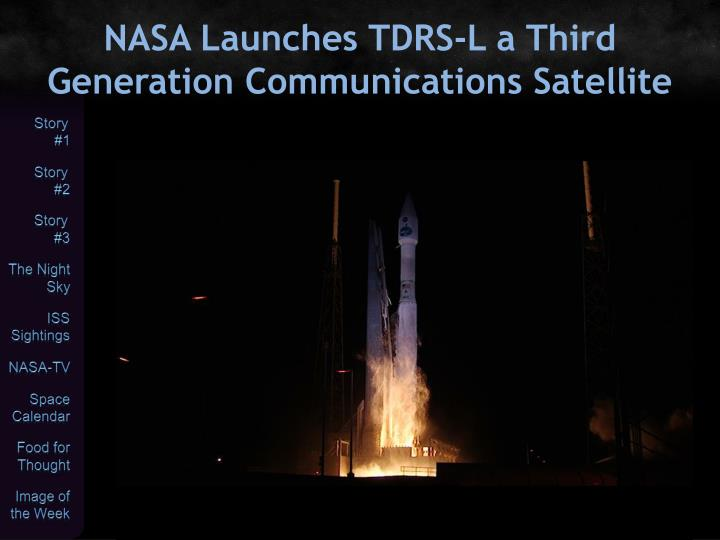 NASA Launches TDRS-L a Third Generation Communications Satellite