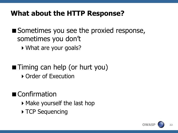 What about the HTTP Response?