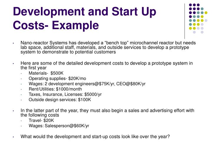 Development and Start Up Costs- Example