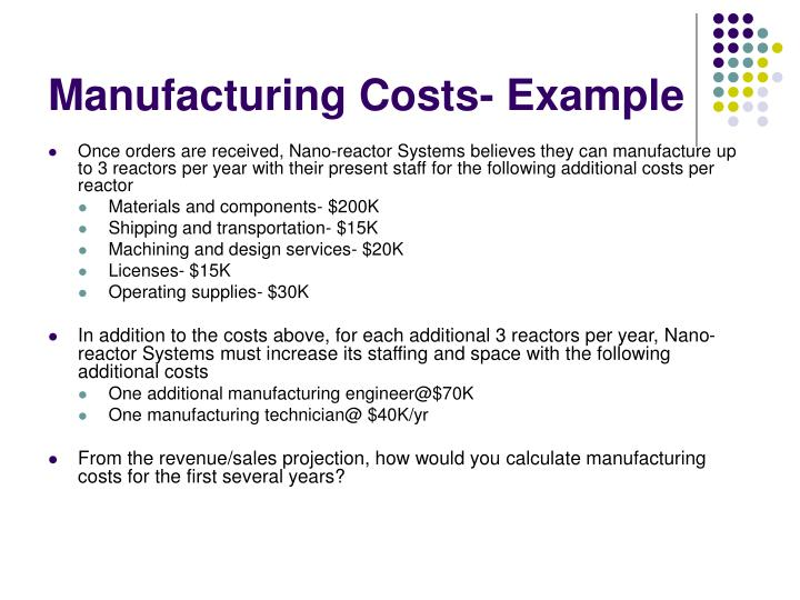 Manufacturing Costs- Example