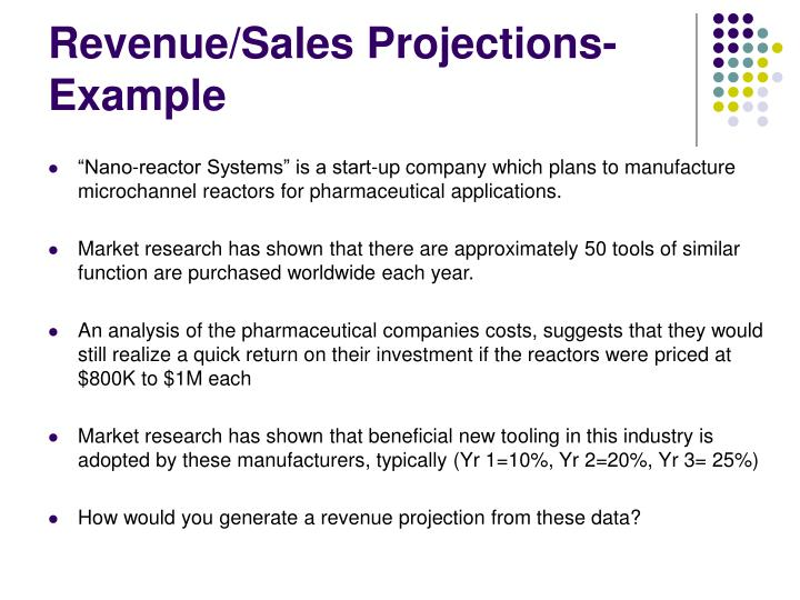 Revenue/Sales Projections- Example
