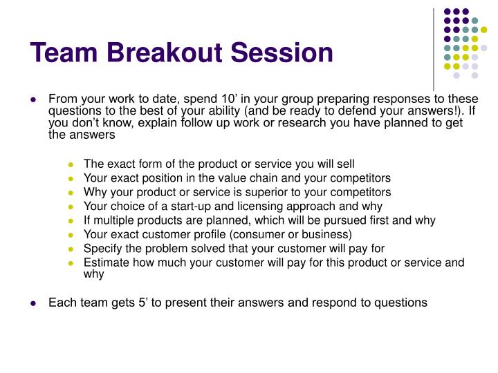 Team Breakout Session