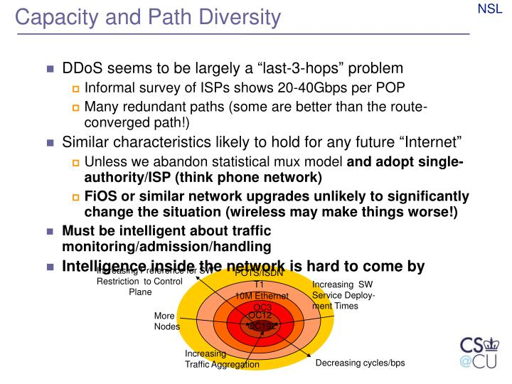 Capacity and Path Diversity