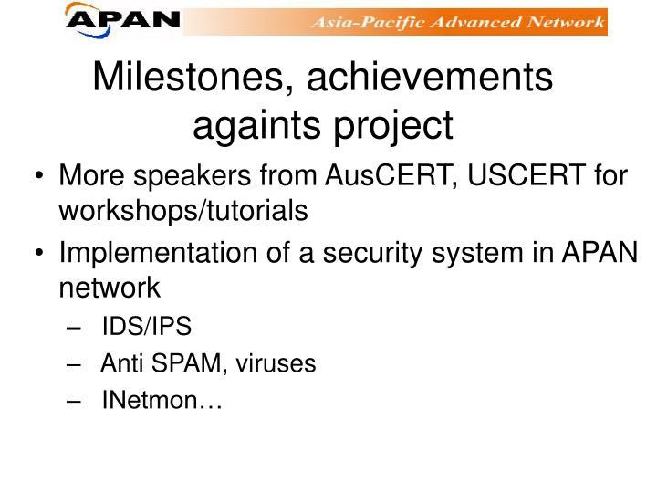 Milestones, achievements againts project