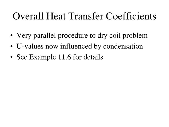 Overall Heat Transfer Coefficients