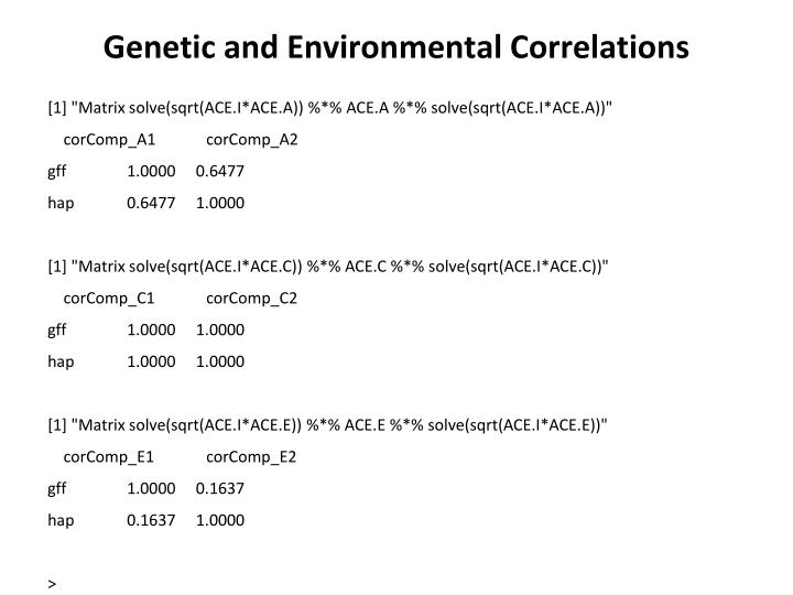 Genetic and Environmental Correlations