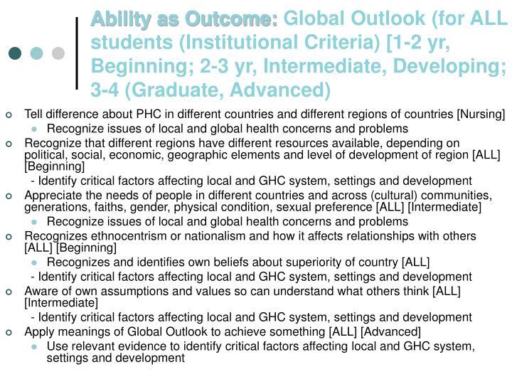 Ability as Outcome: