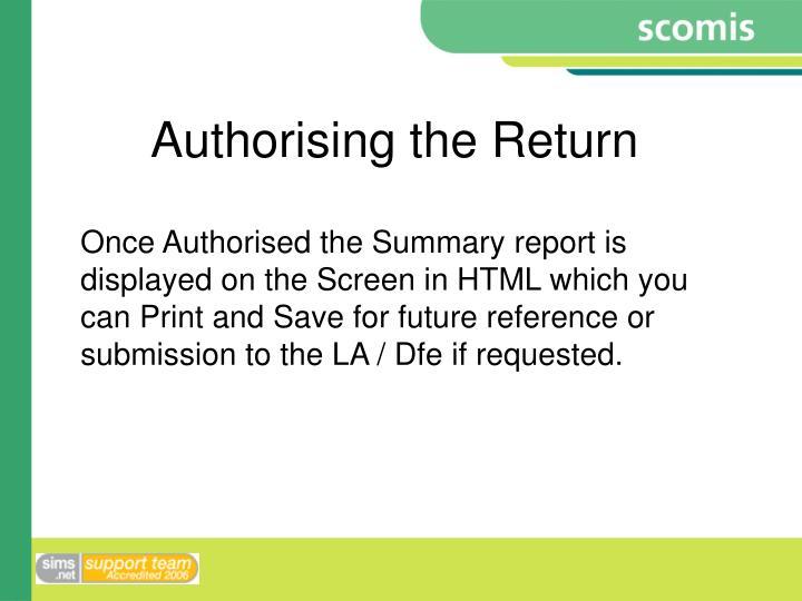 Authorising the Return