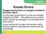 known errors
