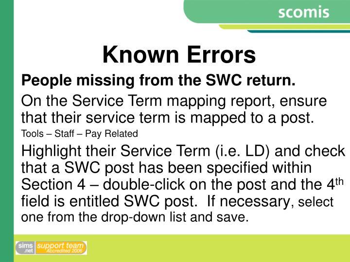 Known Errors