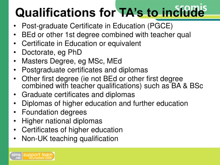 Qualifications for TA's to include
