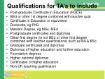 qualifications for ta s to include