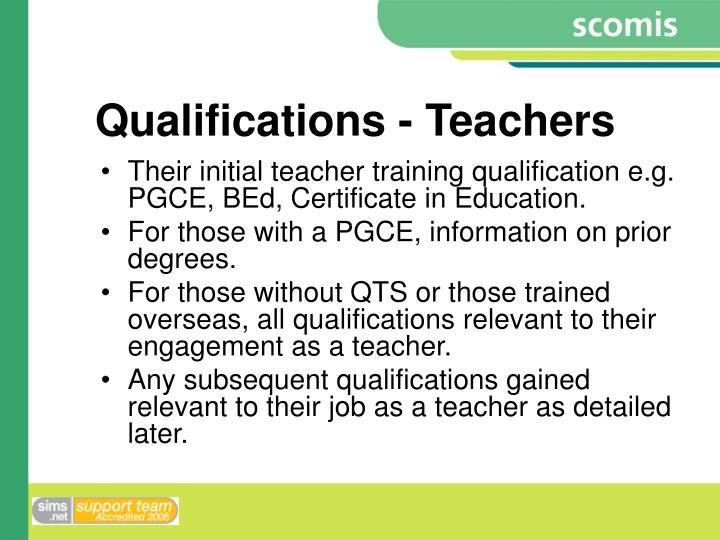 Qualifications - Teachers