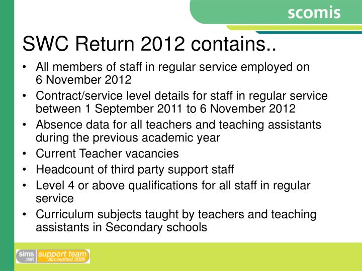SWC Return 2012 contains..