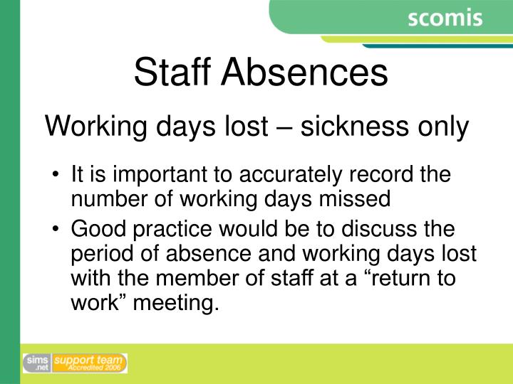 Working days lost – sickness only