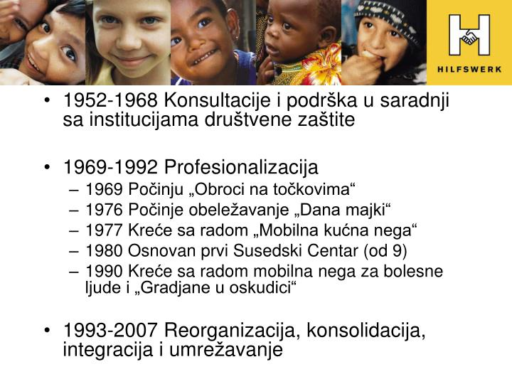1952-1968 Konsultacije i podr