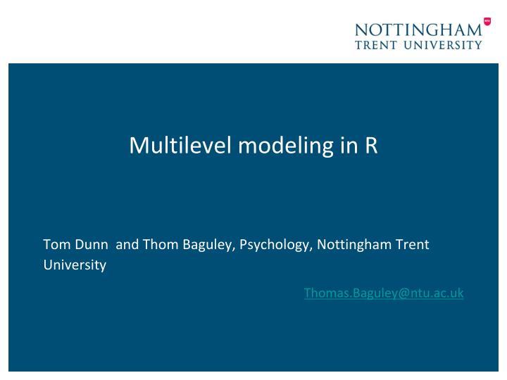 multilevel modeling in r
