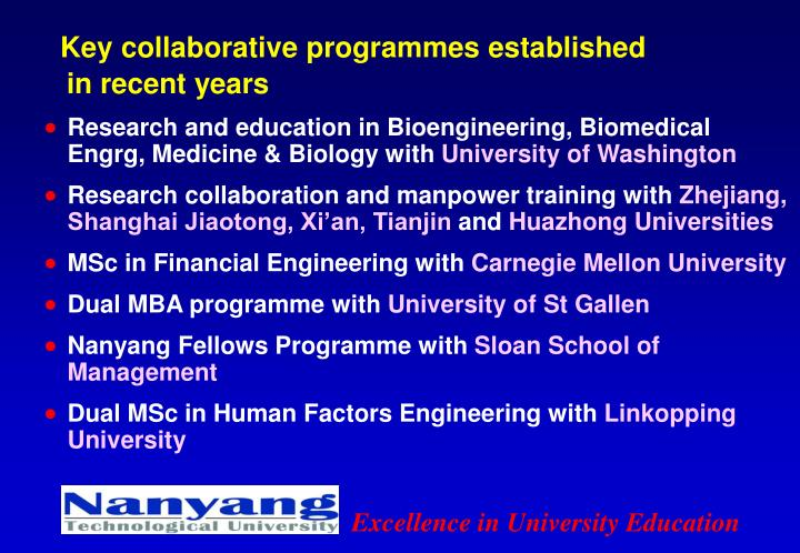 Key collaborative programmes established