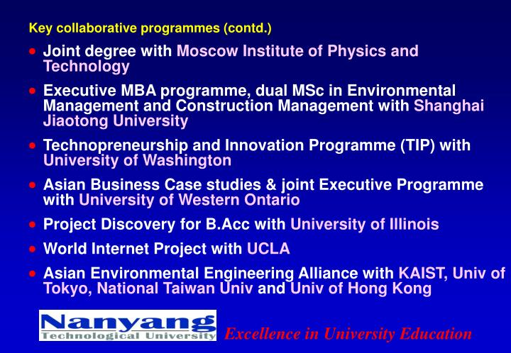 Key collaborative programmes (contd.)