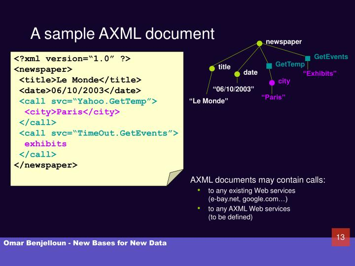A sample AXML document