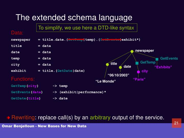 The extended schema language