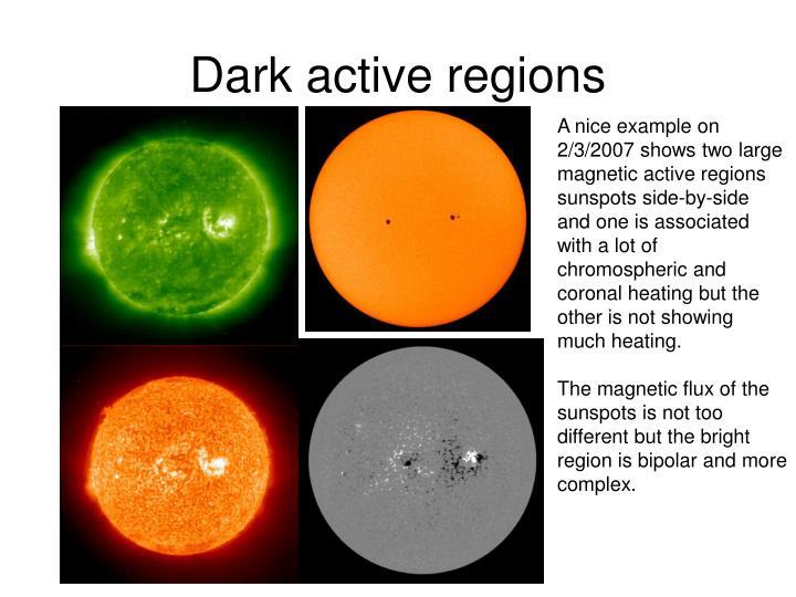 Dark active regions