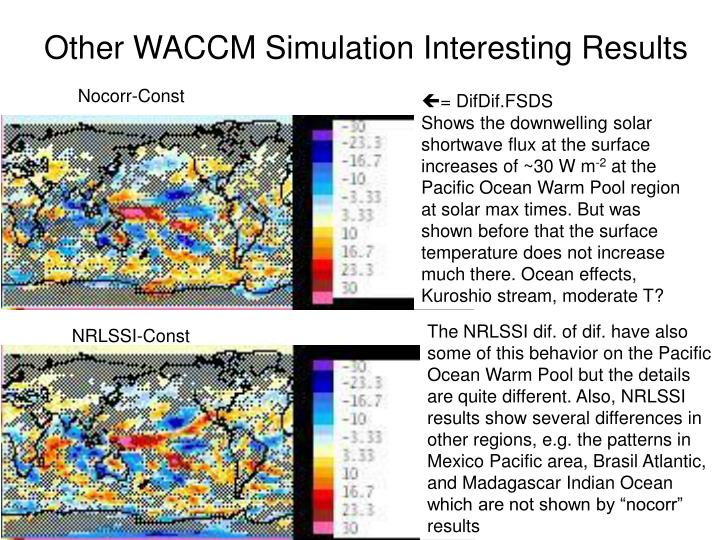 Other WACCM Simulation Interesting Results