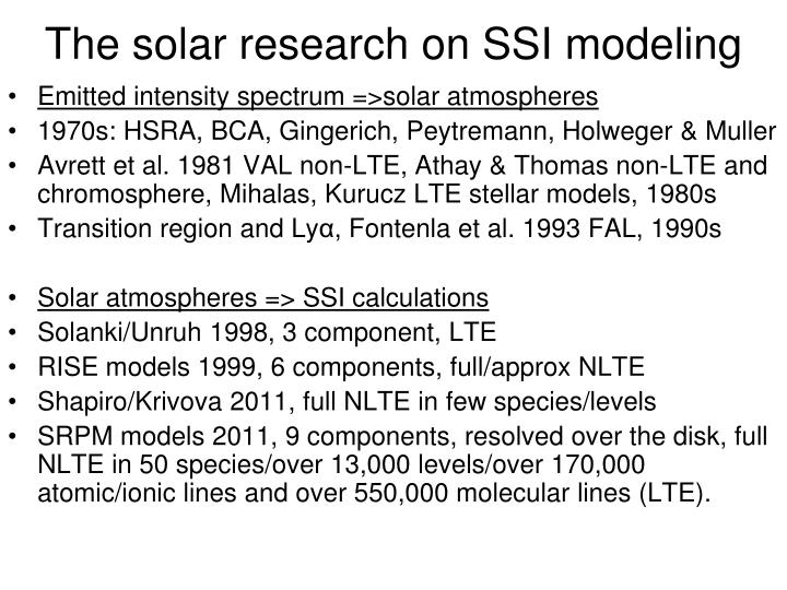 The solar research on SSI modeling
