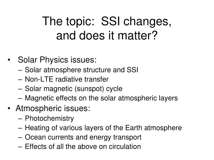 The topic:  SSI changes,