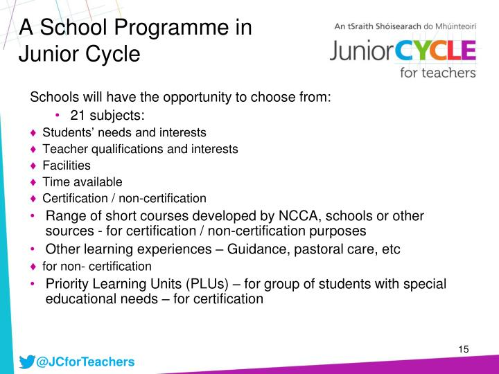 A School Programme in Junior Cycle