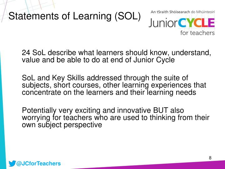 Statements of Learning (SOL)