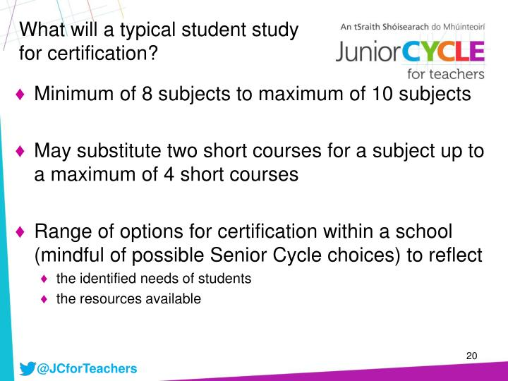 What will a typical student study for certification?