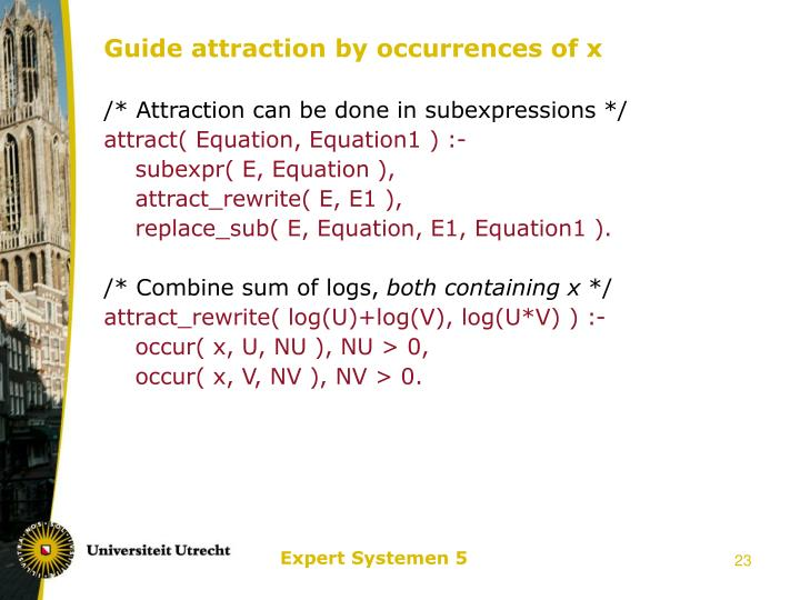 Guide attraction by occurrences of x