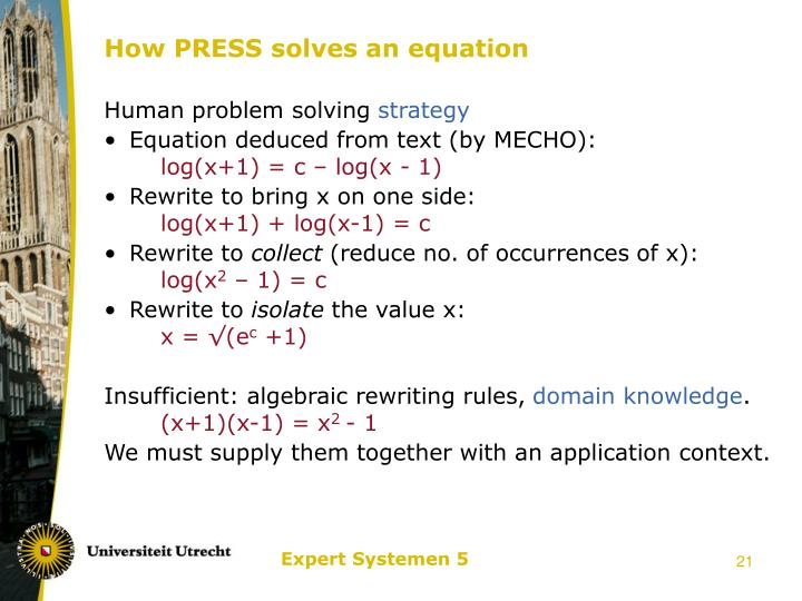 How PRESS solves an equation