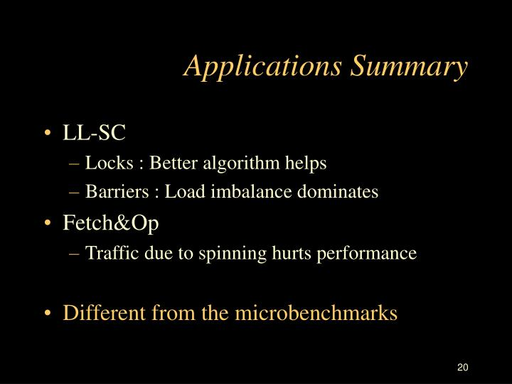 Applications Summary